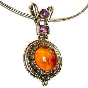 Sterling amber amethyst and moonstone necklace